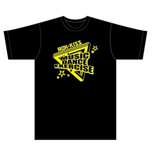 ROK-KISS Tシャツ(黒×黄色)ロゴ(S)